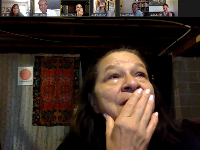 An image from the Zoom meeting where Marcie Rendon learned she had won the award.