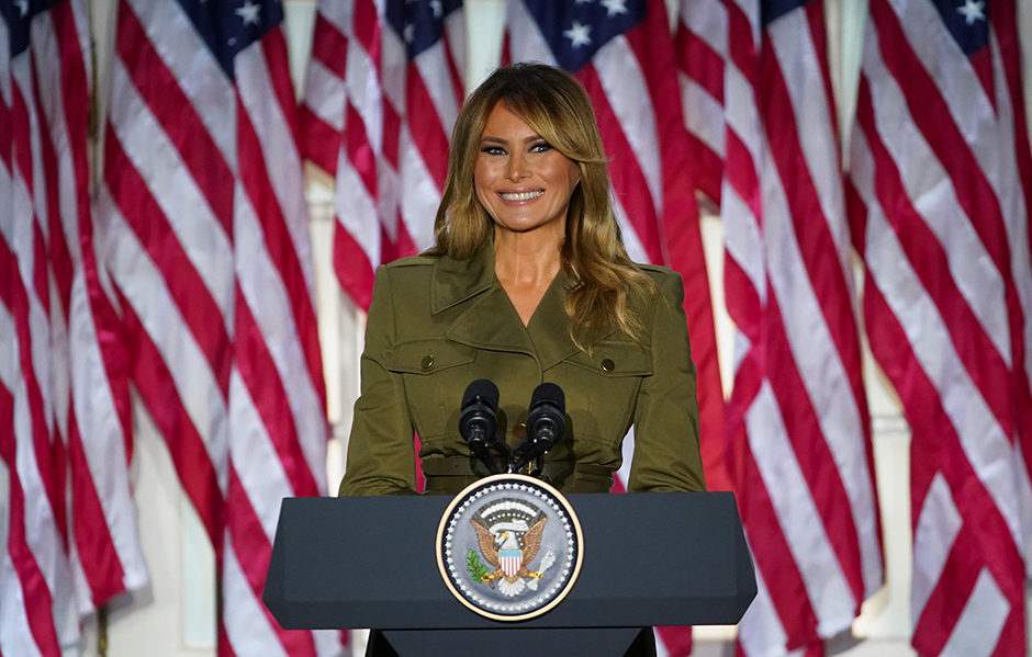 First lady Melania Trump delivering her live address during the 2020 Republican National Convention from the Rose Garden of the White House on Tuesday.