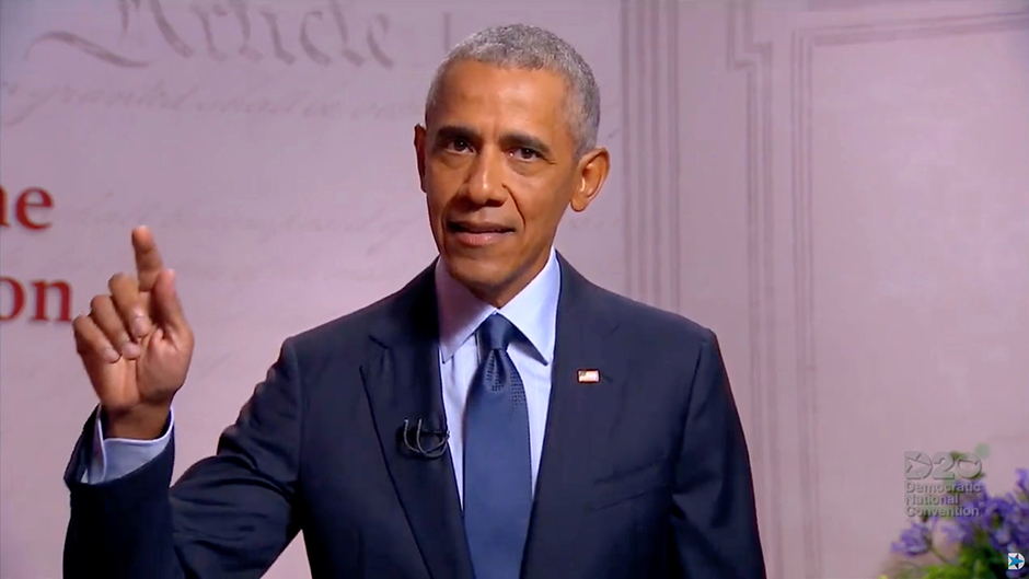 Former President Barack Obama speaking from Philadelphia on Wednesday night by video feed during the virtual 2020 Democratic National Convention.