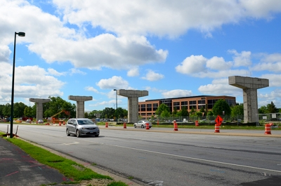 Southwest Light Rail construction along Prairie Center Drive in Eden Prairie.