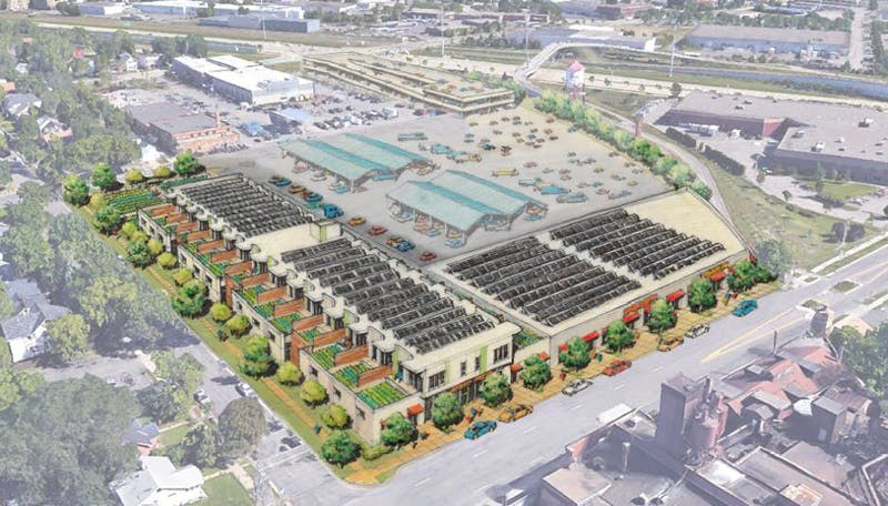This rendition provides a view of what the Roof Depot site could look like if it were developed in the community vision.