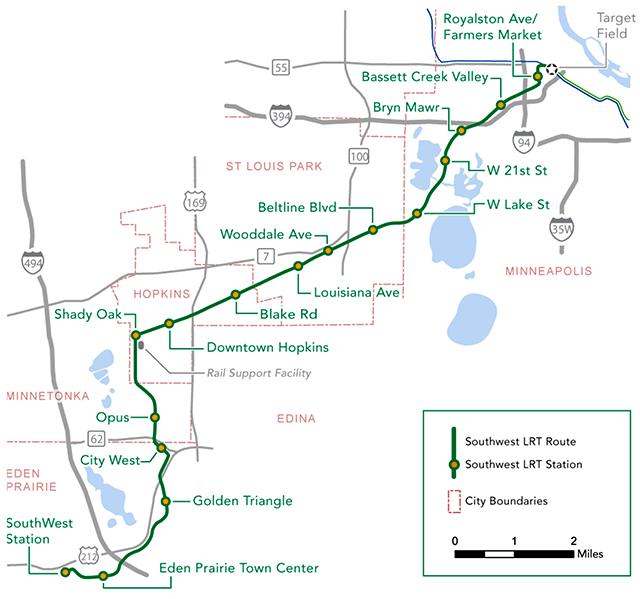 Southwest Light Rail route