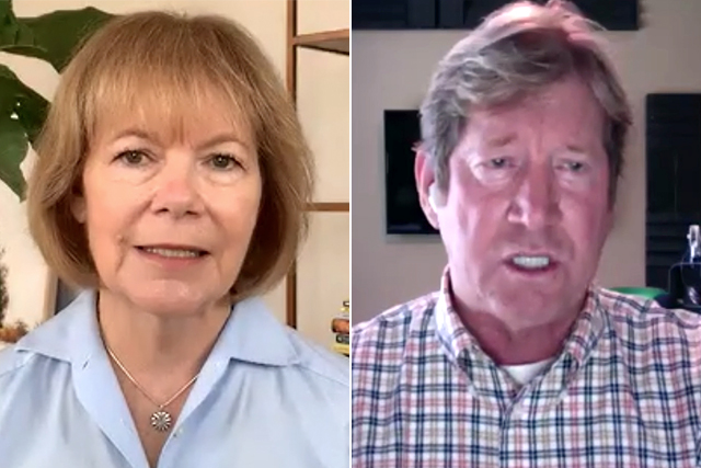 Sen. Tina Smith and senate candidate Jason Lewis shown during Tuesday's forum held over Zoom.