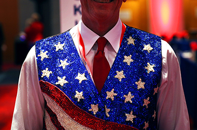 A Republican delegate is seen at the Charlotte Convention Center before the roll call vote to renominate Donald Trump on Monday.