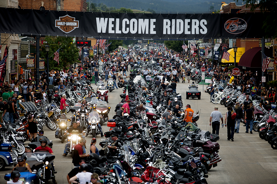 Bikes and rallygoers fill Main Street during the annual Sturgis Motorcycle Rally in Sturgis, South Dakota, in an August 4, 2015, photo.