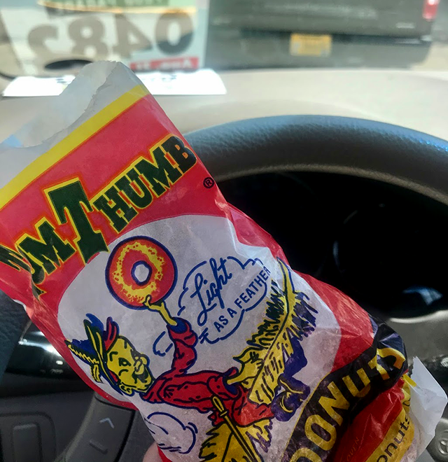 Tom Thumb donuts — one of the fair foods that's easily eaten while driving.