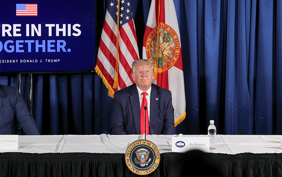 """President Donald Trump participating in a """"COVID-19 Response and Storm Preparedness"""" event in Belleair, Florida, on Friday."""