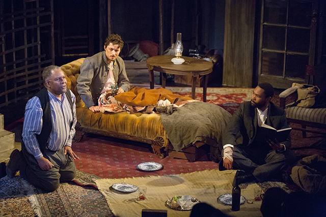 """Warren C. Bowles, Riley O'Toole, JuCoby Johnson in the 2017 production of """"The Whipping Man."""""""