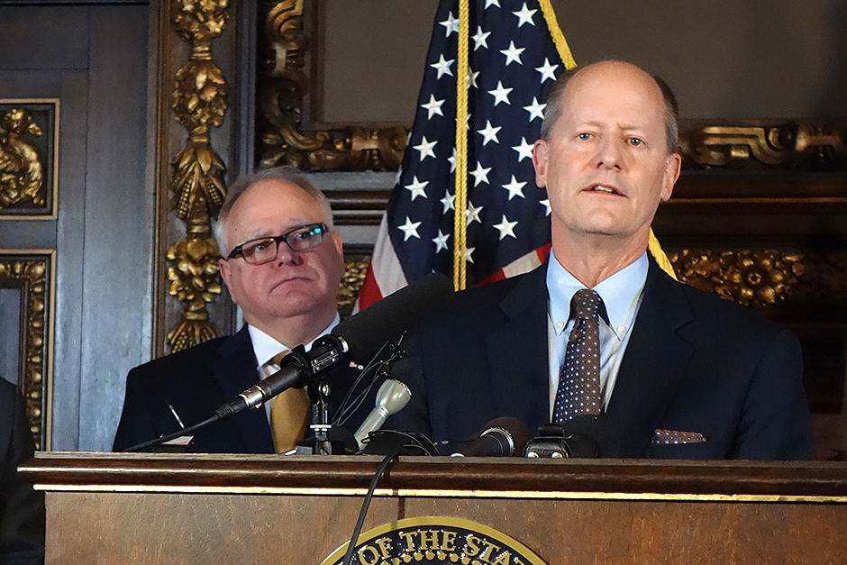 """Senate Majority Leader Paul Gazelka, right, wouldn't say if the GOP planned to remove Commerce Commissioner Steve Kelley, but he said Republicans would only deny confirmation to a commissioner """"if they're not doing their job."""""""