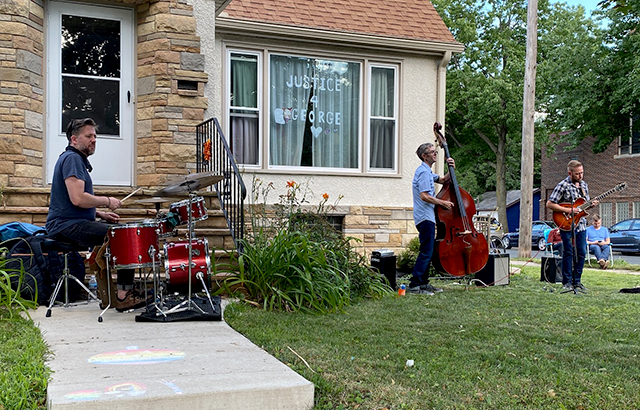 Pete Hennig, Matt Peterson and Zacc Harris played in Harris' yard on Sunday afternoon.