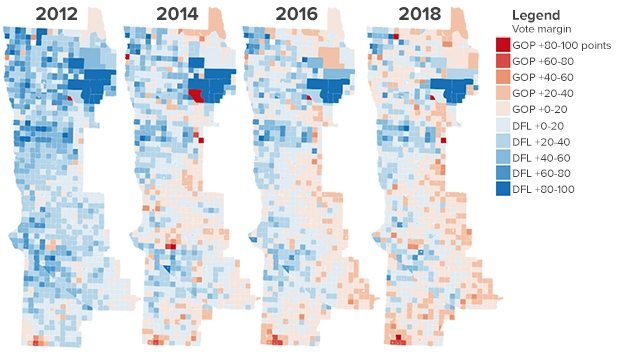 maps showing collin peterson winning a decreasing share of precincts in seventh district over last 4 elections