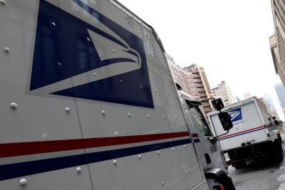 photo of mail trucks