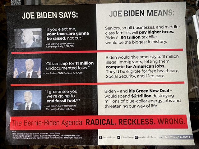 A flyer sent to voters in September by the Republican Party of Minnesota promoting President Donald Trump.