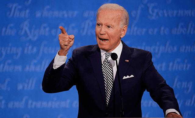 Former Vice President Joe Biden speaking during Tuesday night's debate.