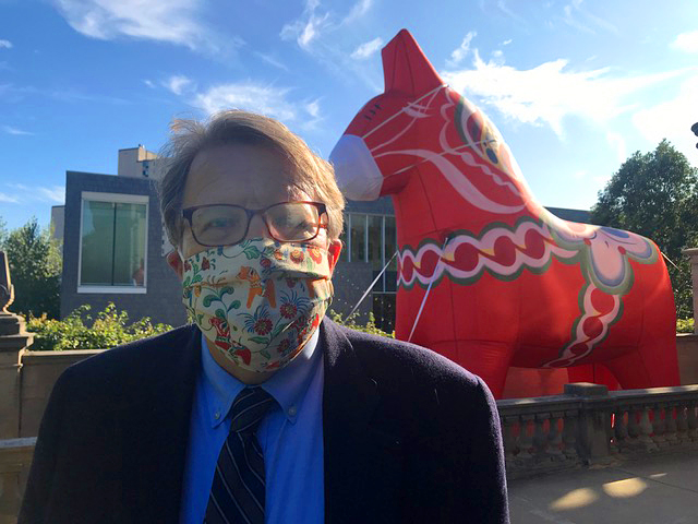 Bruce Karstadt shown with ASI's Dala Horse