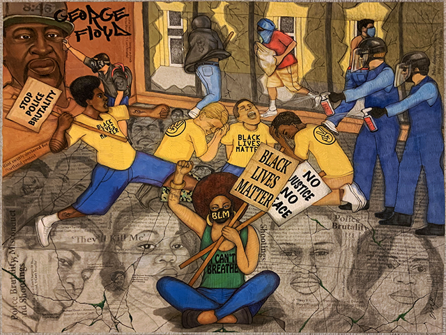 """""""Cracked Justice,"""" a quilt by Carolyn Crump, part of """"Racism: In the Face of Hate We Resist."""""""