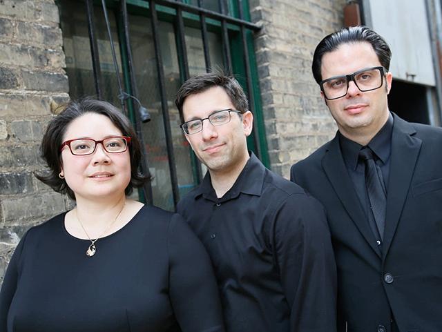 Flying Forms, left to right: Tami Morse, harpsichord; Marc Levine, Baroque violin; Tulio Rondon, viola.