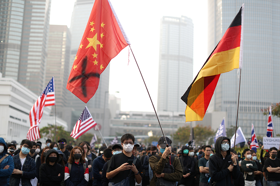 Hong Kong protesters rallying in support of the human rights of Xinjiang Uighurs on December 22, 2019.