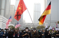 Hong Kong protesters rallying in support of the human rights of Xinjiang Uighurs