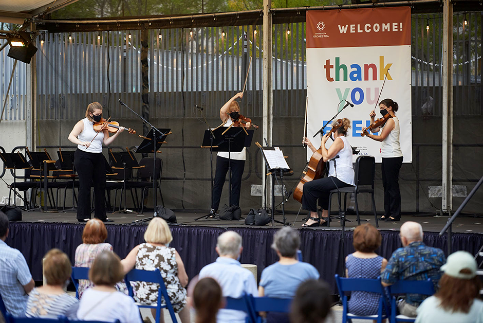 An image from one of the Minnesota Orchestra's outdoor Peavey Plaza summer concerts.