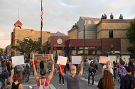 Protesters rallying near the Minneapolis Police Department's Third Precinct