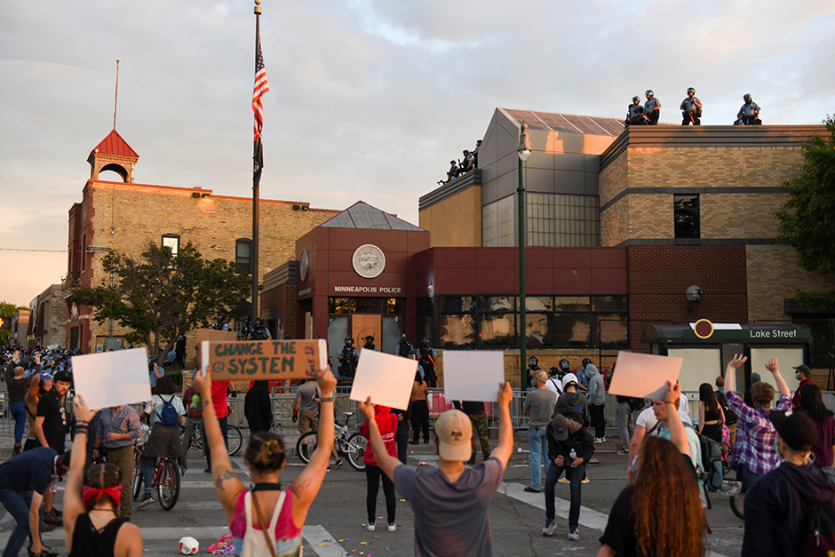 Protesters rallying near the Minneapolis Police Department's Third Precinct on May 27. The building was burned on May 28.