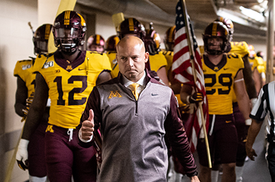 Head Coach P.J. Fleck and the Golden Gophers football team