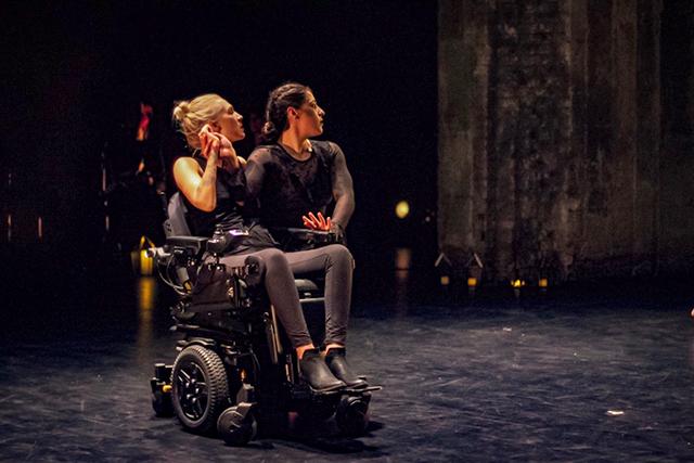 "Choreographers Rachel Lieberman and Kelsey Peterson performing ""Bone Burden."""
