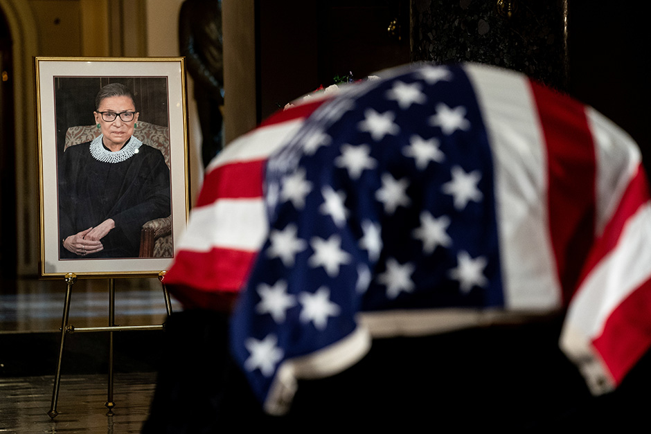 Justice Ruth Bader Ginsburg lying in state in Statuary Hall of the U.S. Capitol on September 25.