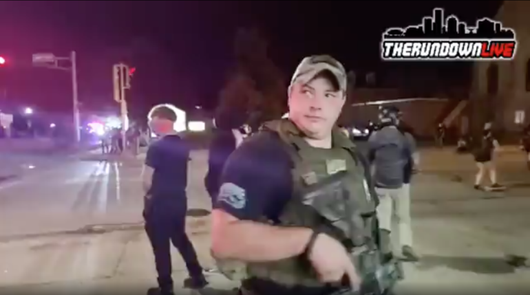 Ryan Balch says on a video taken Aug. 25 that police in Kenosha, Wisconsin, told him they planned to herd the crowd protesting police violence toward the armed civilians.