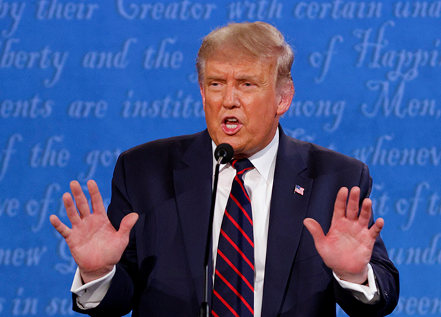 President Donald Trump speaking during Tuesday night's debate held on the campus of the Cleveland Clinic at Case Western Reserve University in Cleveland, Ohio.