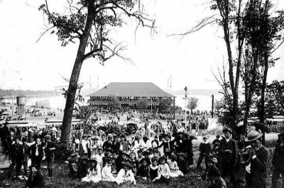 photo of gathering at lake harriet park
