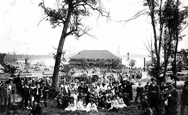 photo of gathering at lake harriet park