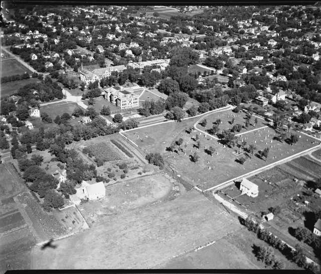 aerial photo of cemetery