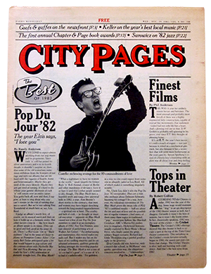 City Pages issue from December 29, 1982, featuring Elvis Costello.