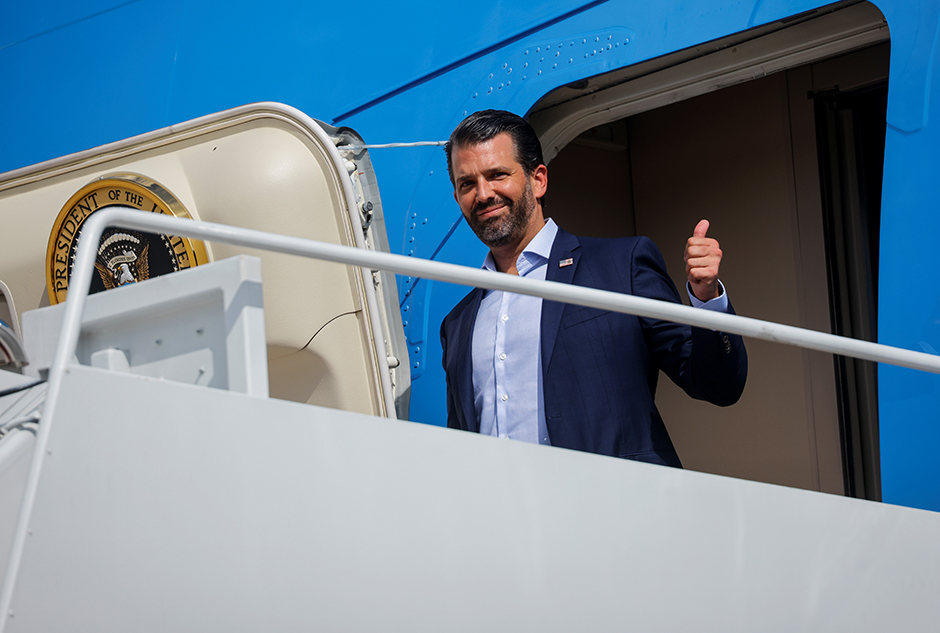 Donald Trump Jr. shown boarding Air Force One on September 29.