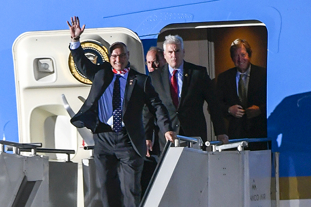 Joining President Trump on Air Force One to Duluth, from left: Rep. Pete Stauber, Rep. Jim Hagedorn, Rep. Tom Emmer and senate candidate Jason Lewis.