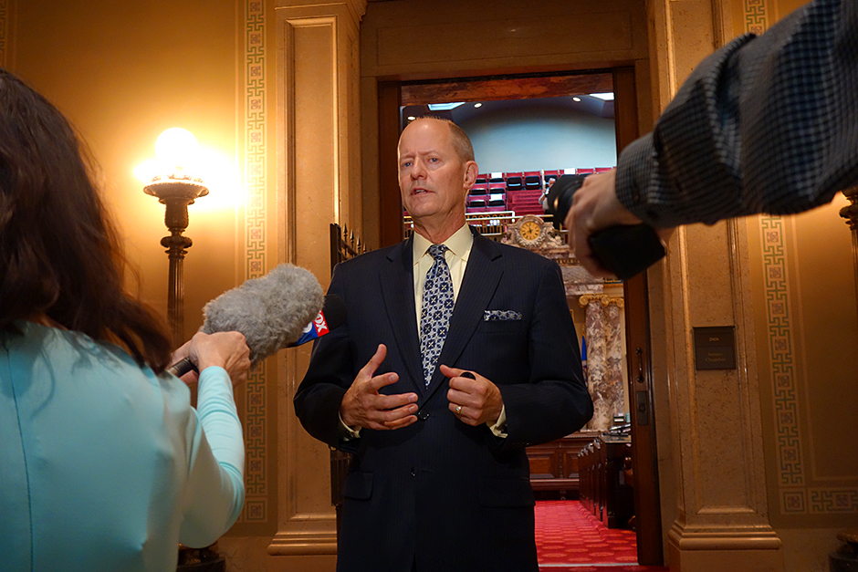 Senate Majority Leader Paul Gazelka speaking to members of the press on Thursday.