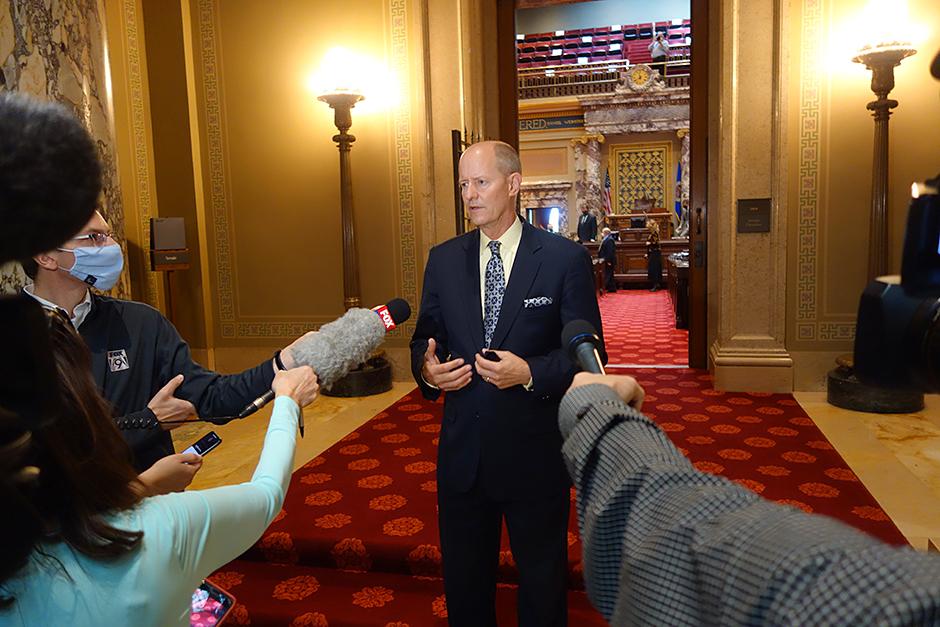 Senate Majority Leader Paul Gazelka speaking to members of the press on Thursday.