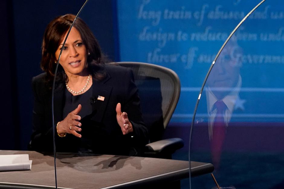 Sen. Kamala Harris speaking during the 2020 vice presidential debate on Wednesday night.