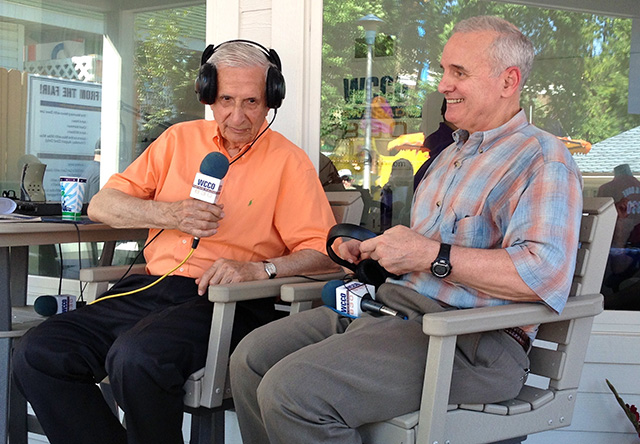 Then-Gov. Mark Dayton being interviewed by Sid Hartman on WCCO-AM at the 2013 Minnesota State Fair.