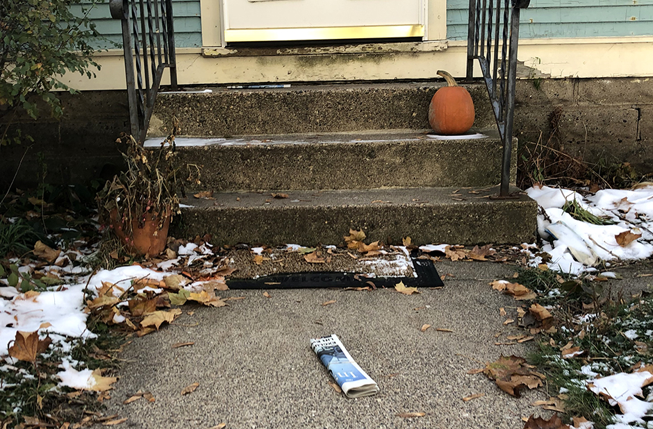 The latest edition of the Insight News delivered to a stoop in the Frogtown area of St. Paul.
