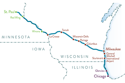 Map of proposed Twin Cities-Milwaukee-Chicago intercity passenger rail service.