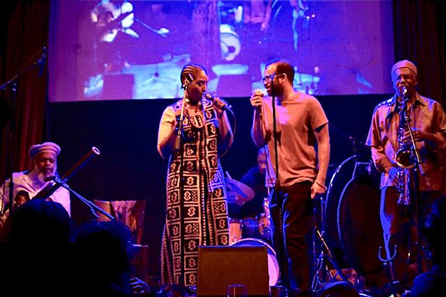 Left to right: Douglas Ewart, Mankwe Ndosi, Davu Seru (drums) and Douglas Kearney at Icehouse in 2019.