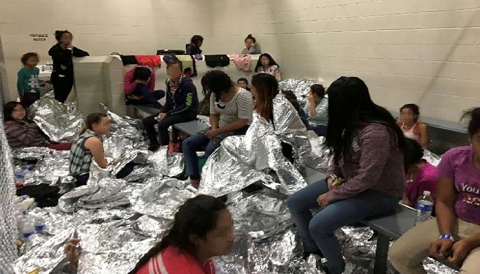 The family holding area at a Border Patrol Centralized Processing Center is seen in a still image from video in McAllen, Texas.