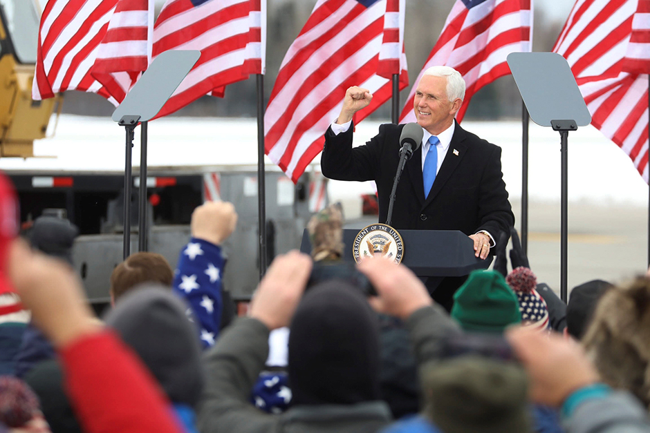 Vice President Mike Pence speaking to supporters at a pre-election rally in Hibbing on Monday.