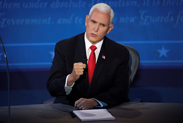 Vice President Mike Pence speaking during last night's vice presidential campaign debate.