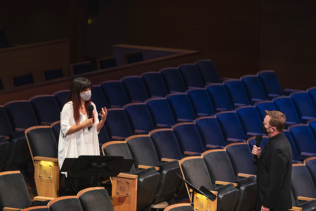 Sarah Hicks and Minnesota Orchestra violist Sam Bergman interviewing each other during a test livestream concert in mid-September.