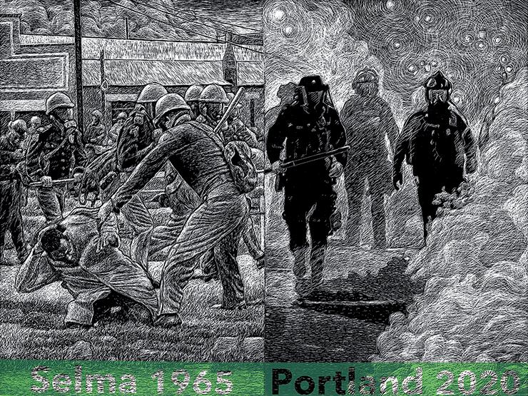 "Jo Sances, ""Selma 1965/Portland 2020,"" 2020, screenprint"