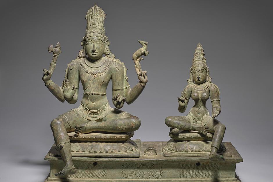 """""""Somaskanda"""" (Holy Family of Shiva and Uma), 13th-14th century, bronze"""